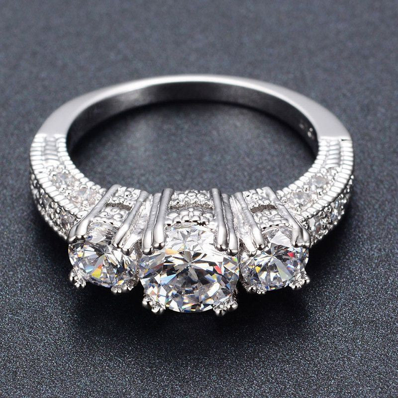 Silver Crystal Ring Wedding Engagement Ring