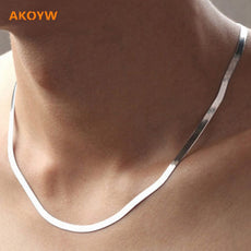 silver necklace flat snake bone chain