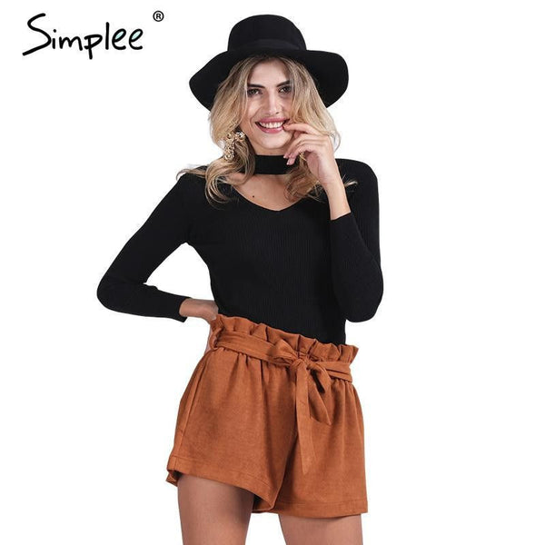 Simplee Slim halter knitted sweater women tops - Fashion Cornerstone