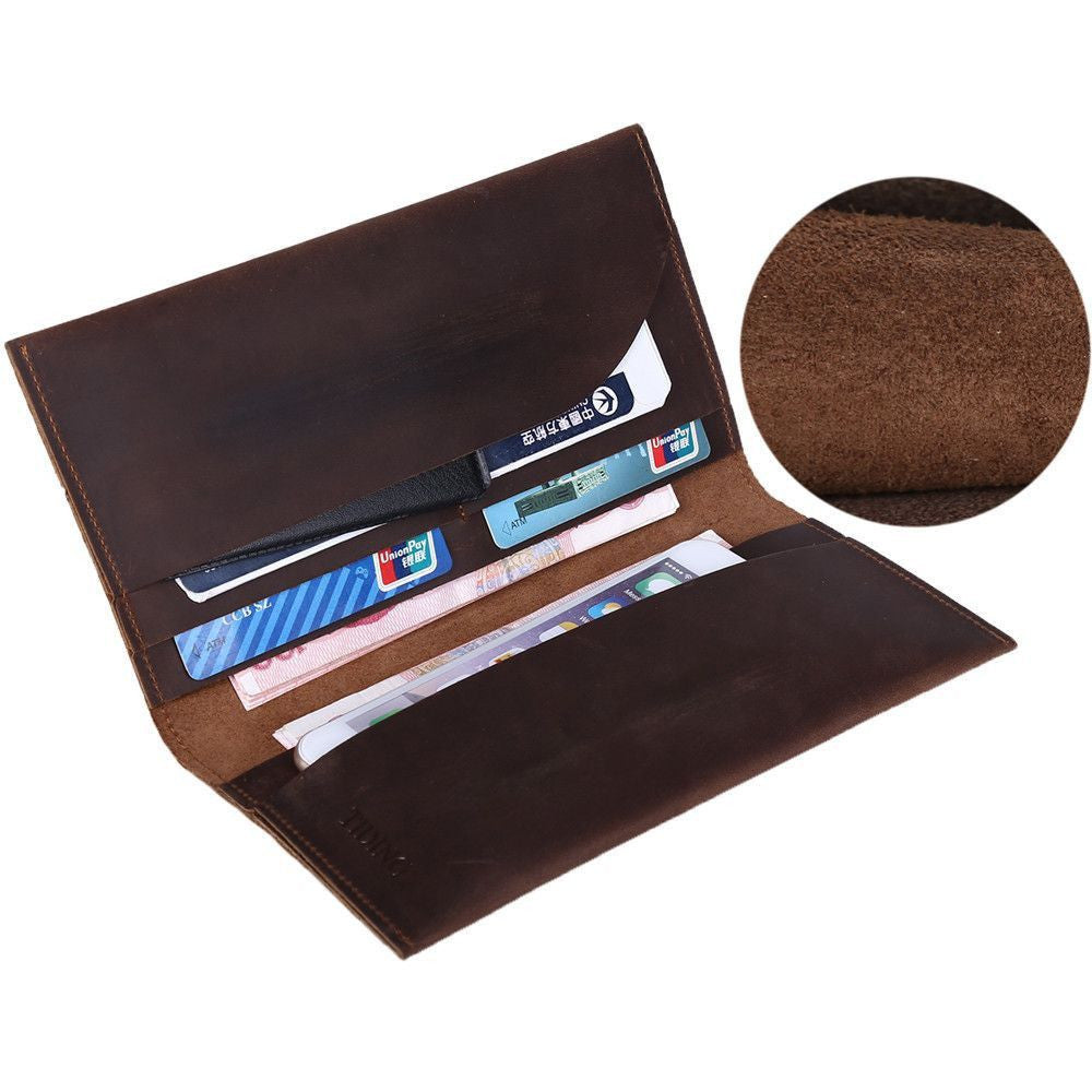 Soft Genuine Leather Long Wallet Cowhide Leather