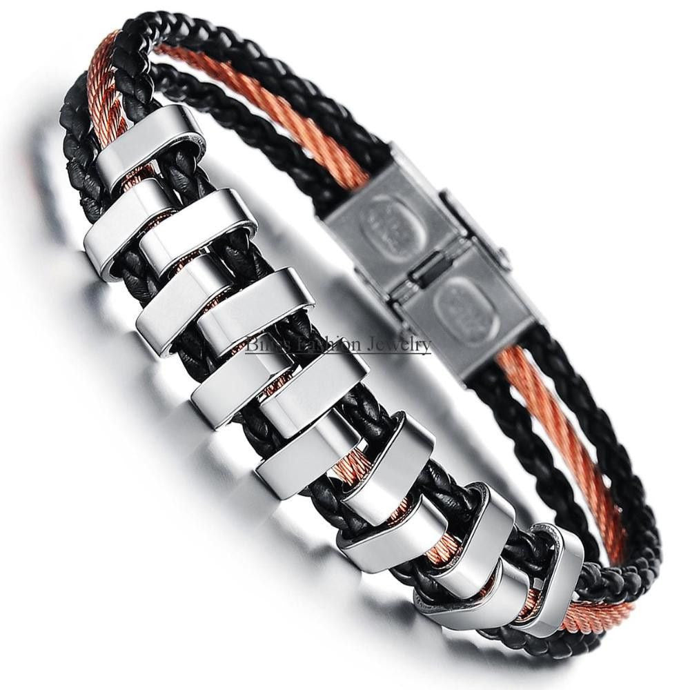 Stainless Steel Braided Bracelet Black PU Leather Brown Rope