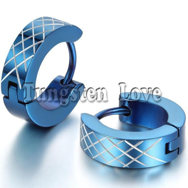 Stainless Steel Huggies Hoop Earrings with Cross Pattern