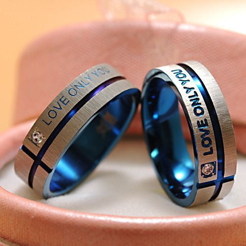"Stainless Steel Simple Circle ""Love Only You"" Couple Rings"