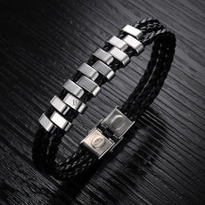Stainless Steel Strand Braided Leather Bracelet