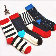 Stripes men crew socks of happy sock casual