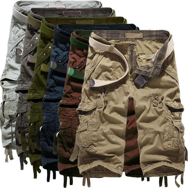 Summer Calf-Length Cargo mens shorts Multi-pocket Solid - Fashion Cornerstone