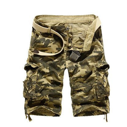 Summer Style Overalls Camouflage Loose Multi-Pocket Cotton Shorts