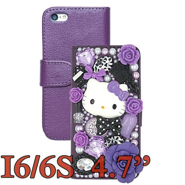the latest ff43a e61dd Supper Cute 3D Bling Crystal Hello Kitty Flip Wallet Leather Case For  iphone 6 6S 4.7'' For iphone 6 plus 5.5'' Phone Cases