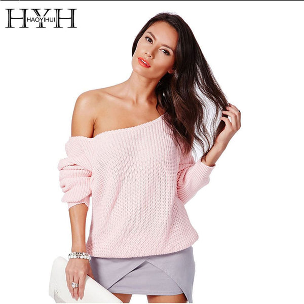 Sweater Full Sleeve Solid Sweater Off Shoulder Design Pullover Sweaters - Fashion Cornerstone