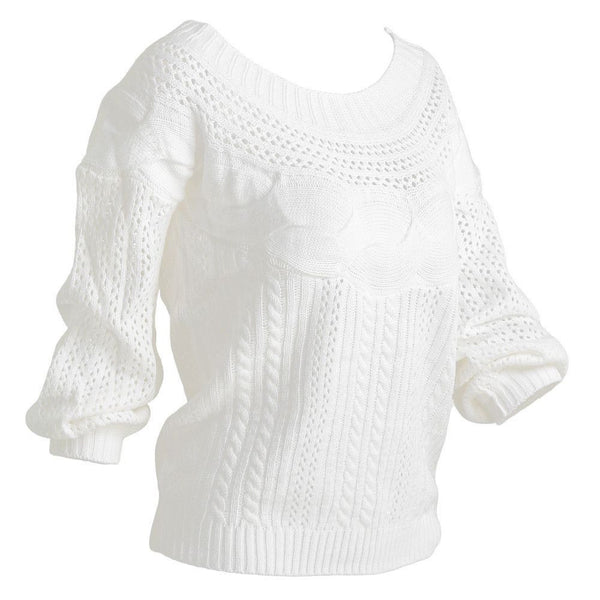 Sweater Off The Shoulder Knitted Sweater - Fashion Cornerstone