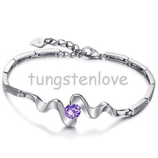 Unique Silver Purple Cubic Zirconia Bangle Bracelet
