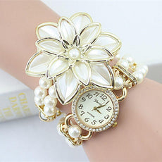 White Flower Bracelet Watches Pearl Quartz