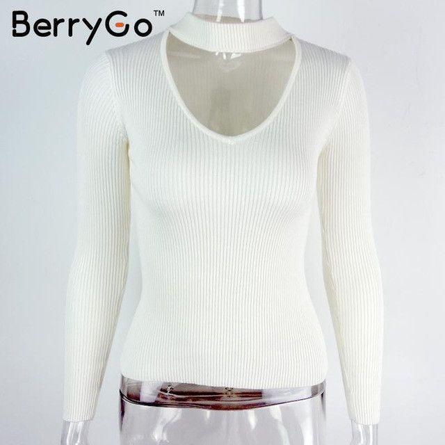 White sexy pullover women tops Slim v neck long sleeve chic jumper pull