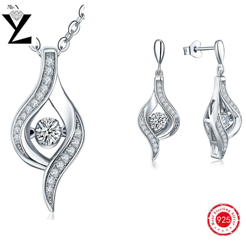 White Water Drop Cubic Zirconia Wedding Jewelry Set