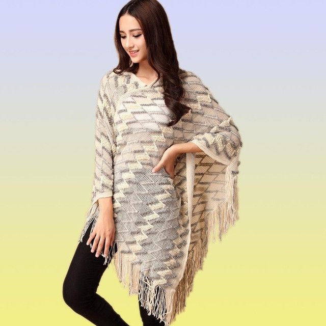 Women Sweater Ladies  Tassels Poncho Long Knitted Pullovers Knitted Cape Coat