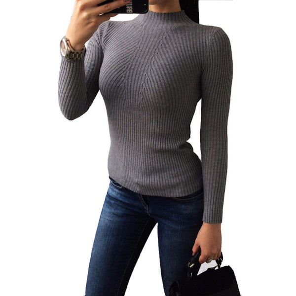women turtleneck knitted sweater-Womens Pullovers-Fashion Cornerstone