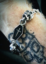 Silver Skull and Coffin Watch Chain Bracelet