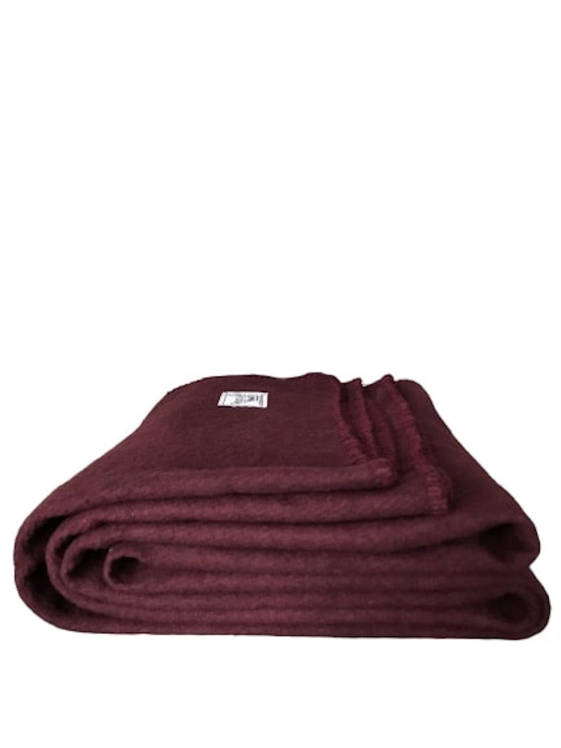 Rugged Burgundy Wool Camping Blanket