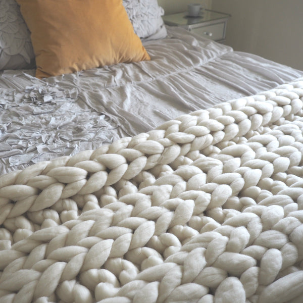 Clouds Rest Hand Knit 100% Merino Wool Blankets - Woolly Mammoth Woolen Company