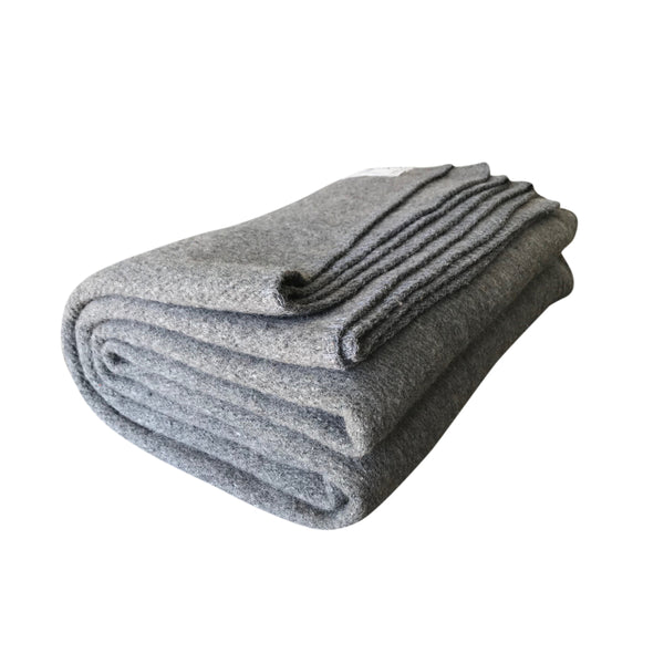 Rugged Gray Wool Blanket - Woolly Mammoth Woolen Company