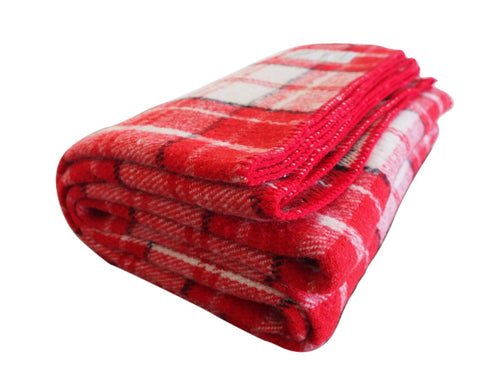 Spiced Cider | Red, Cream, and Black Plaid Wool Blanket - Woolly Mammoth Woolen Company