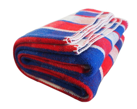 Freedom | Red, White, and Blue Plaid Wool Blanket - Woolly Mammoth Woolen Company