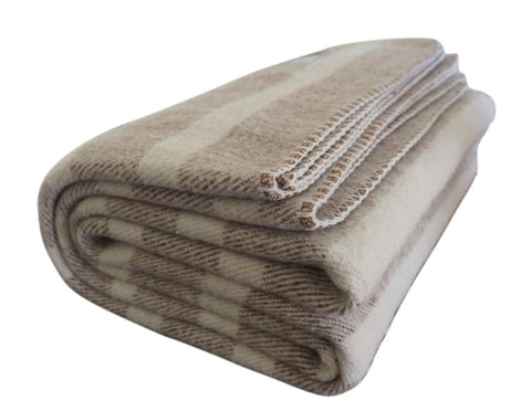 Southern Grown | Tan and Cream White Striped Wool Blanket - Woolly Mammoth Woolen Company