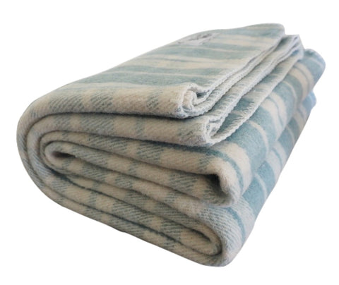 French Country | Teal and Cream Wool Blanket - Woolly Mammoth Woolen Company