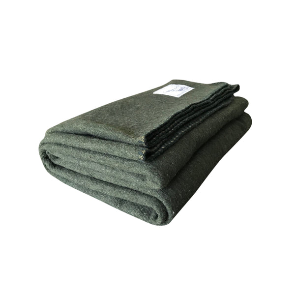 Rugged Hunter Green Wool Blanket