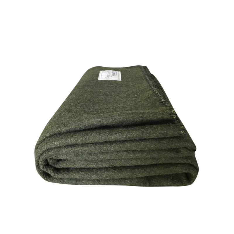 Rugged Hunter Green Wool Blanket - Woolly Mammoth Woolen Company