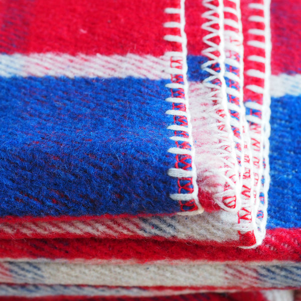 Blue White Red Plaid Wool Blanket Heavy Wool Blanket On Sale