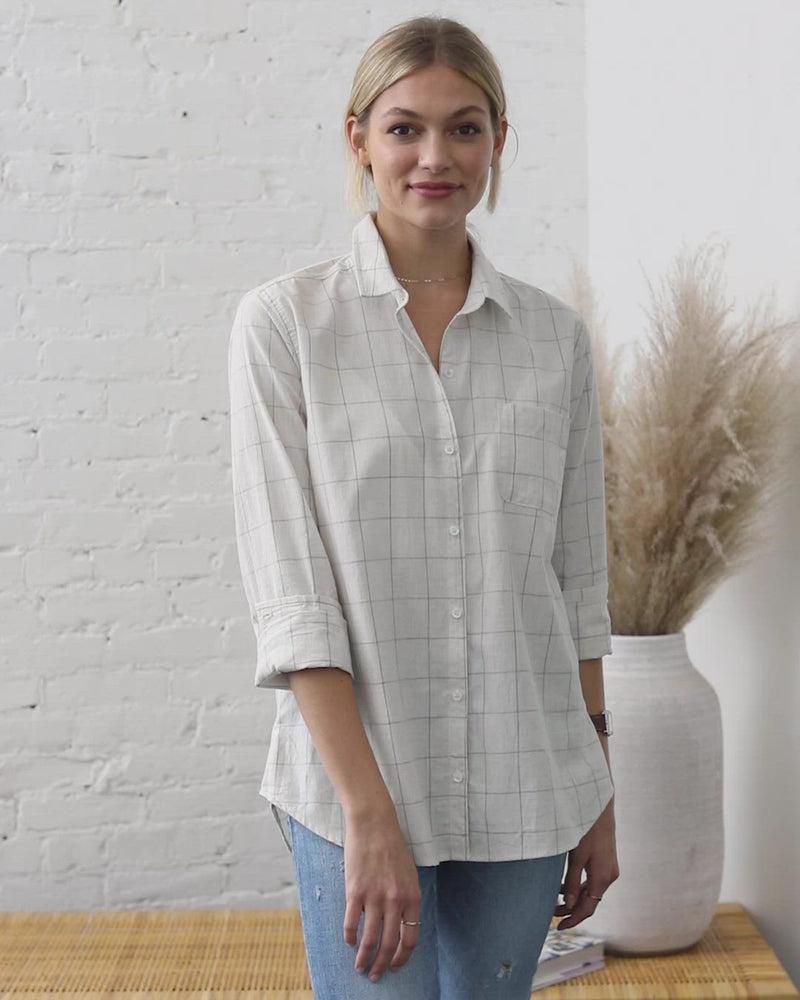 Load and play video in Gallery viewer, Kennedy Cotton Windowpane Button Down