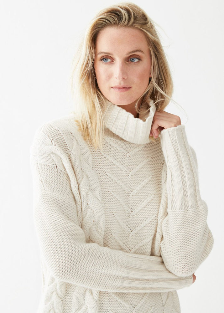 James Cable Pullover Ivory - Not Monday