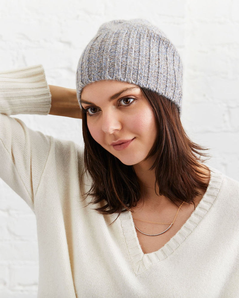 Stella Cashmere Beanie - Natural and Blue Marl - Not Monday