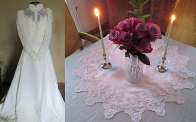 table decor from wedding dress