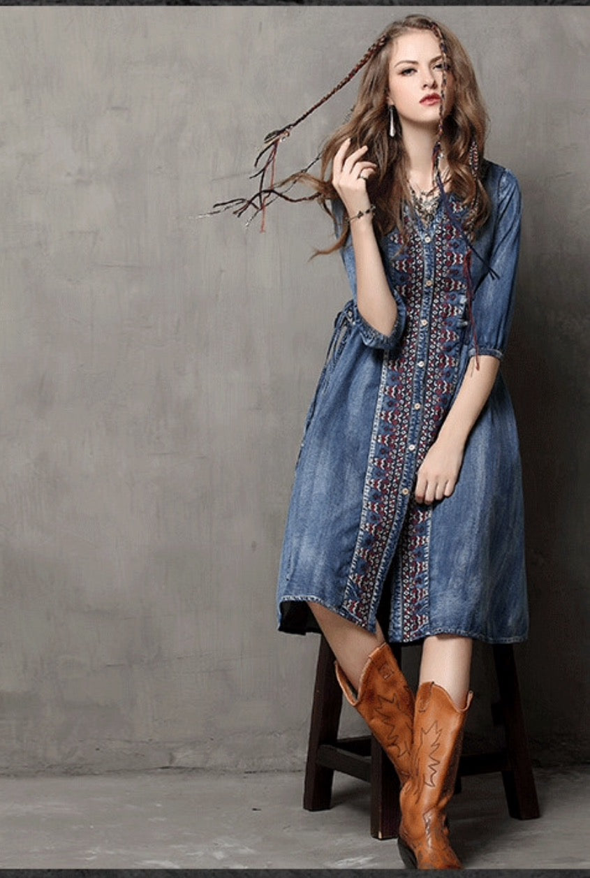 Denim cowgirl embroidered details women's long sleeve dress