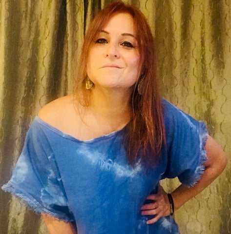 matilde caceres laughing and modeling blue tie dye tunic