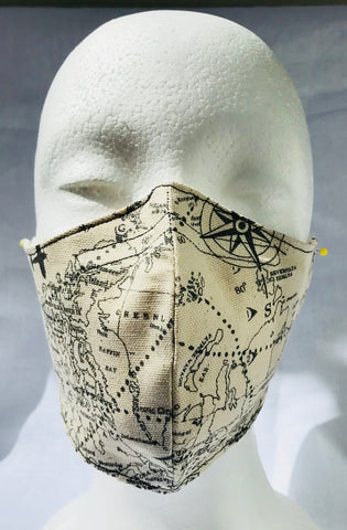 Geography map Social Studies Teacher Fitted Face Mask with Nose Wire and Elastic Ear Loops Adult Size