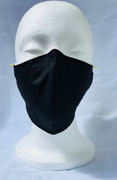 Solid Black Adult Fitted Face Mask with nose adjustable wire and elastic ear loops