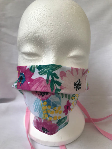 """Garden"" Pink floral Pleated Face Mask with Tie Backs"