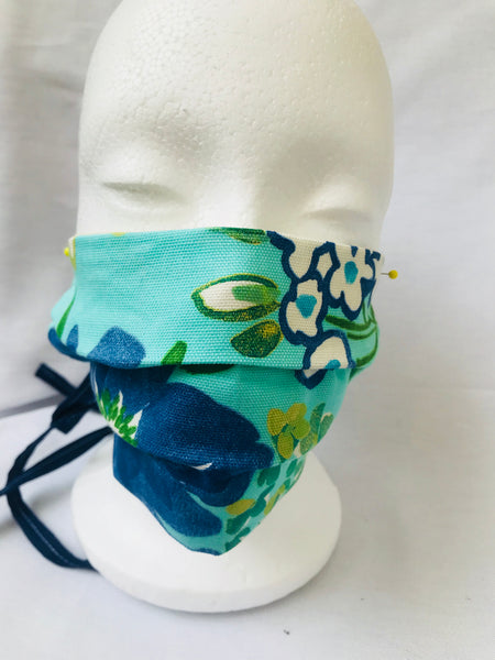 """Happy Summer"" Blue green Pleated floral Face Mask with tie back cords"