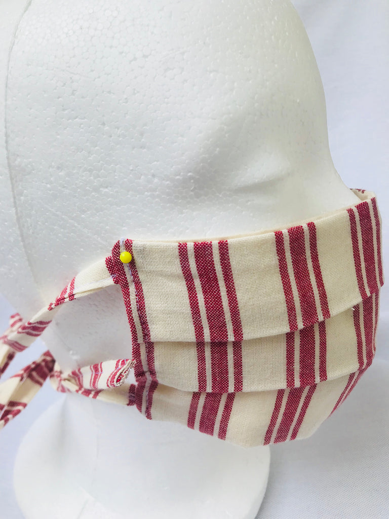 """Key Largo"" red stripe pleated face mask with tie back cords"