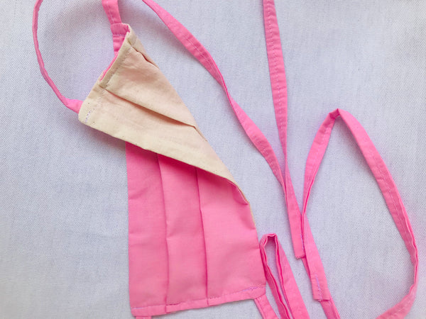 """Pink Panther"" Pleated Face Cover with Tie Back Cords"