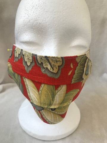 Orange Green Floral Print Adult Pleated Face Mask with Elastic Ear Loops