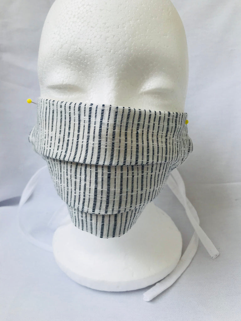"Pleated""Acapulco"" Blue vertical stripes face mask with tie backs"