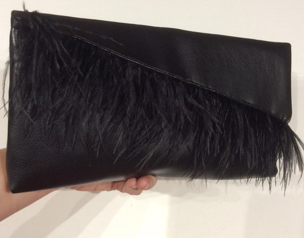 MatildaHtown Original  Ostrich Feather and faux Leather Clutch