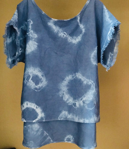 Women Tunic Hi Low Hem Line Linen Blue Tie Dye Original Design Short Fringe Sleeve Shirt Top