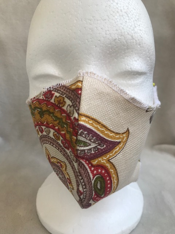 White Paisley Print Fitted Adult Face Mask with Elastic Ear Loops