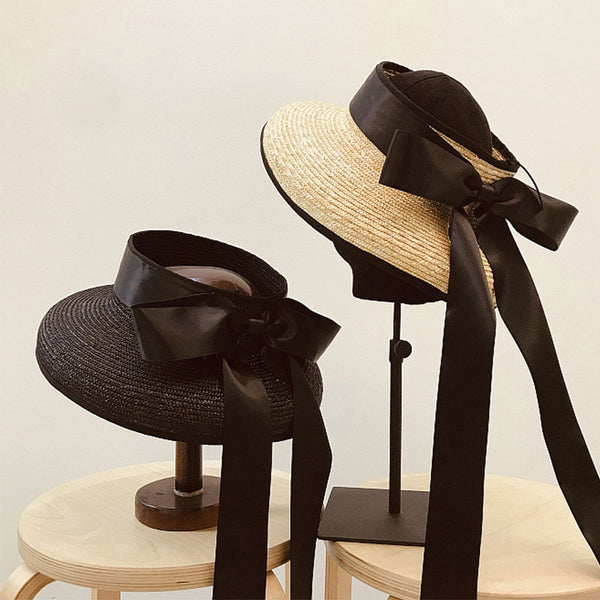Women Exposed head Wide Brim Braid Straw Cap Summer Beach Hat with Long Ribbon Bow