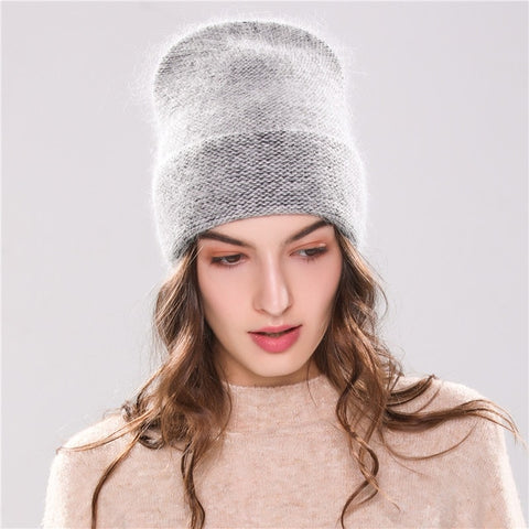 knitted hat Simulated Faux Angola Rabbit fur beanie Fashion Hat